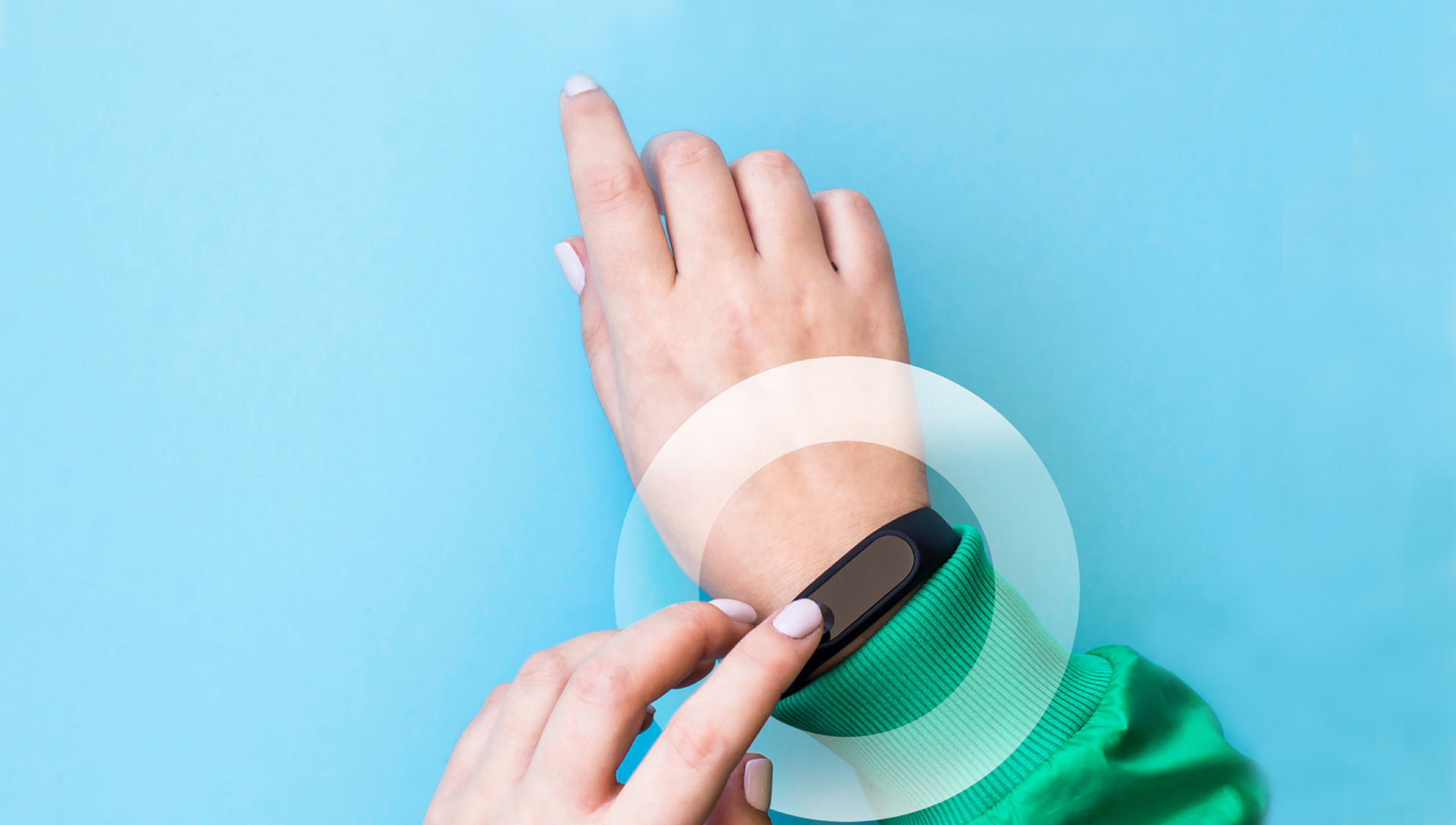 a wearable health device on a persons wrist