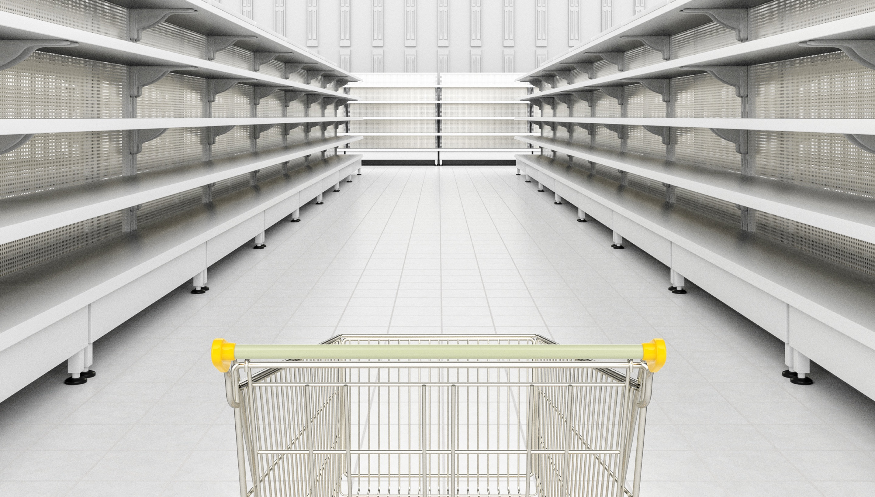 an empty shopping cart in an empty store