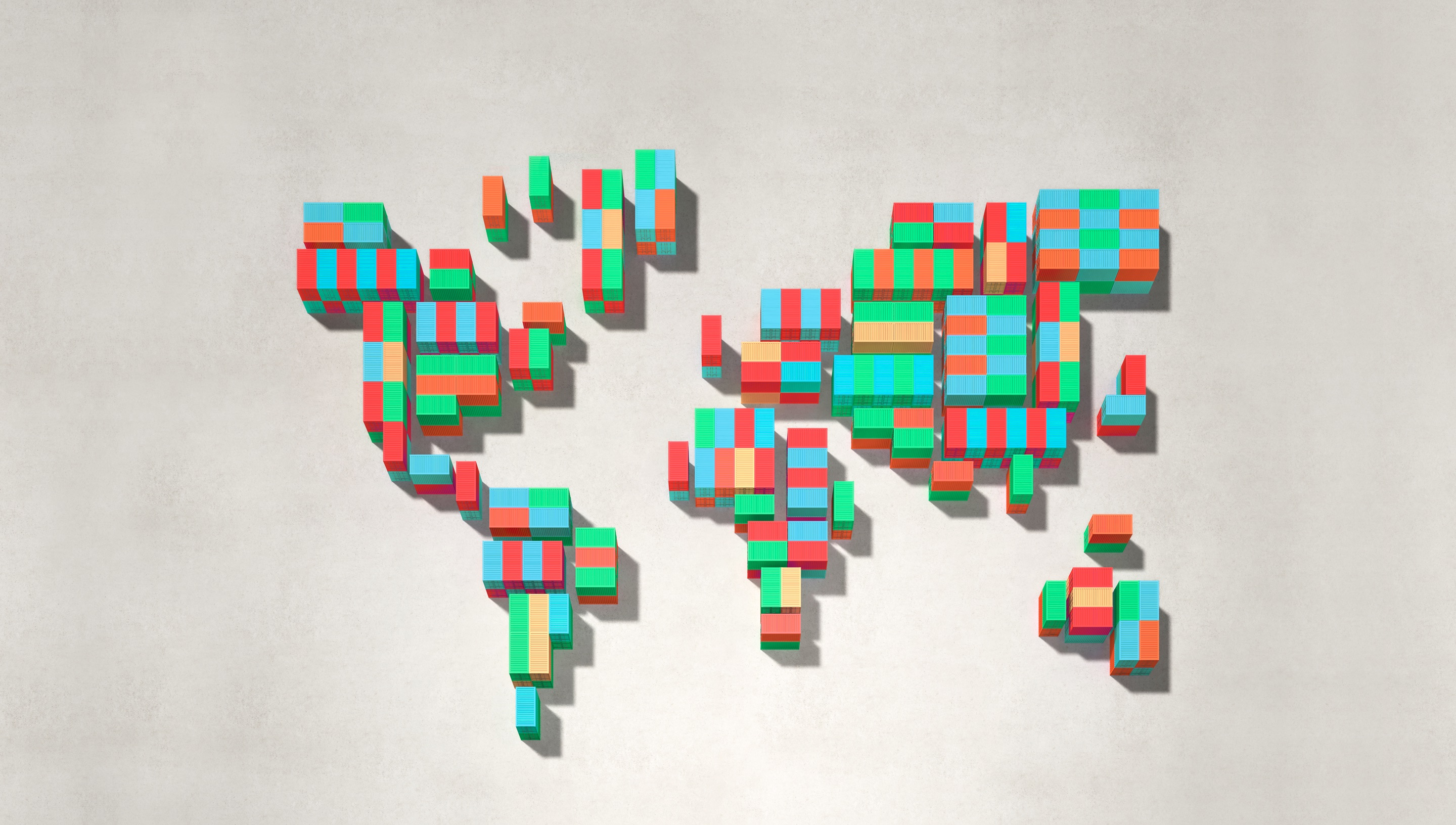 Shipping containers in the shape of a global map