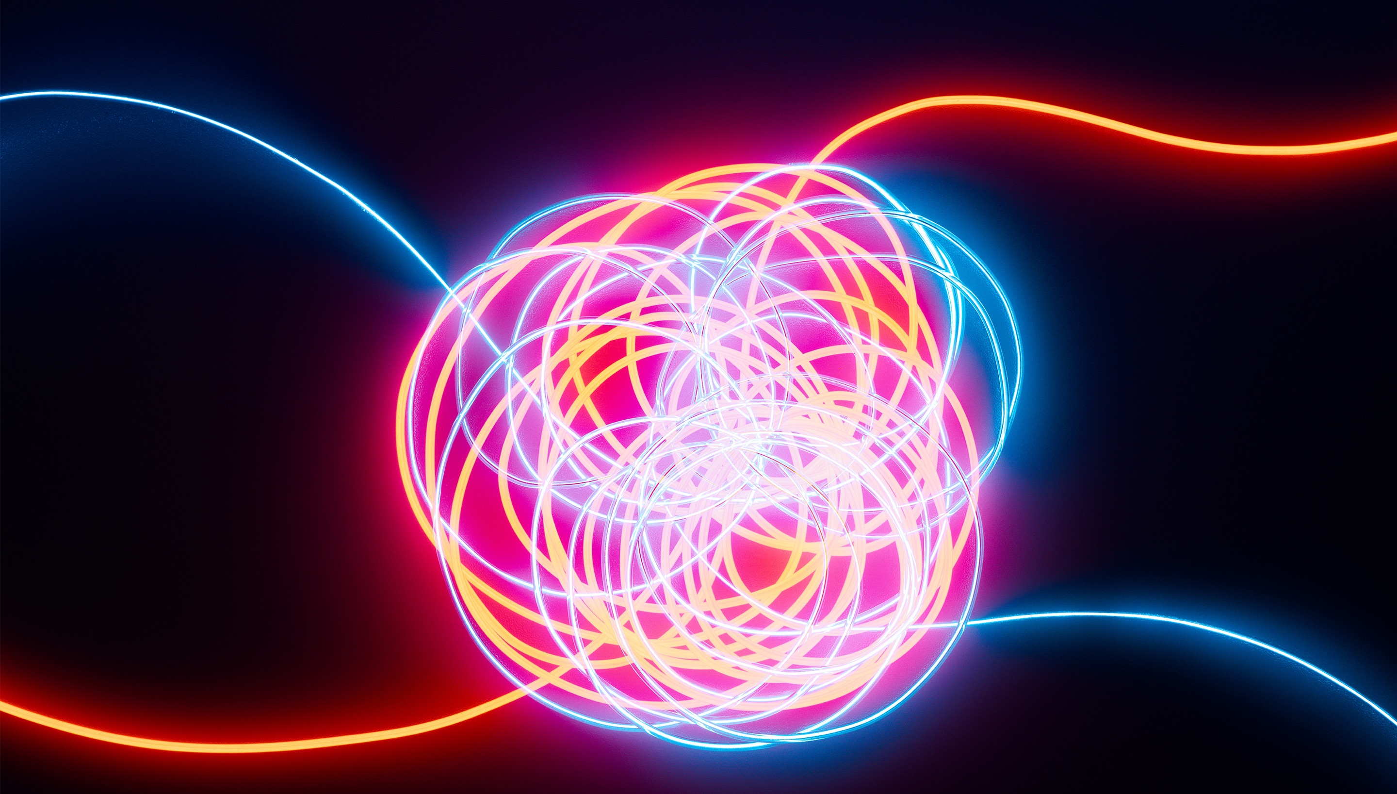 a photo of interconnected wires glowing with activity
