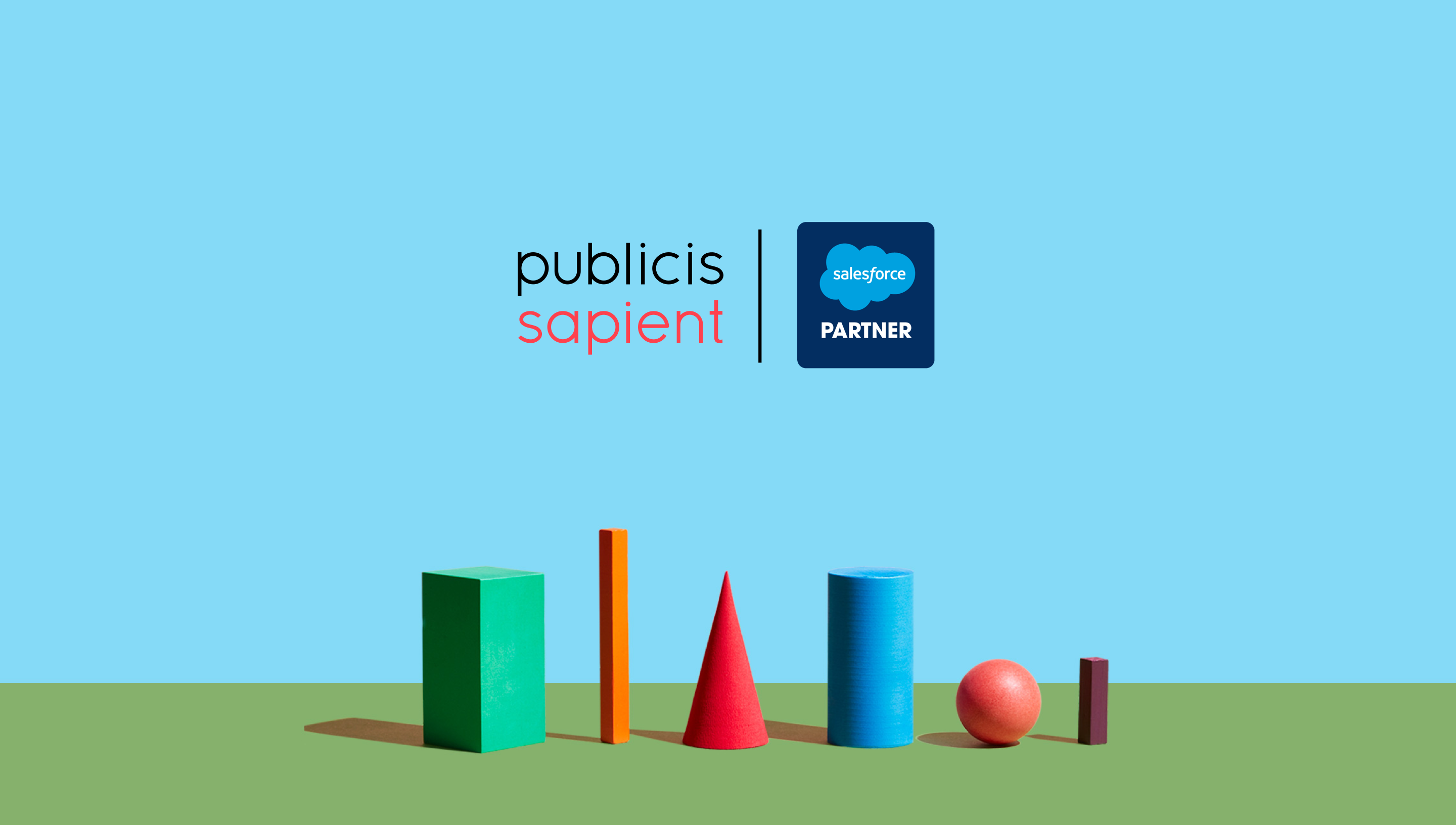Conceptual landscape of different shapes with PS and Salesforce logos