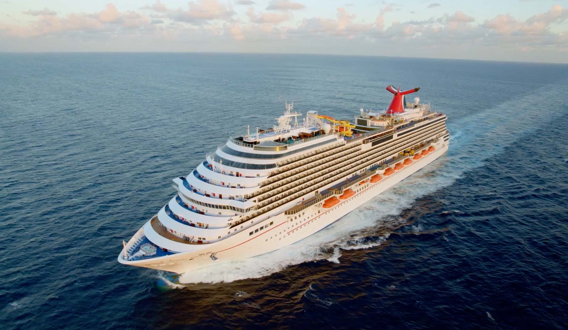 A Carnival cruise ship at sea