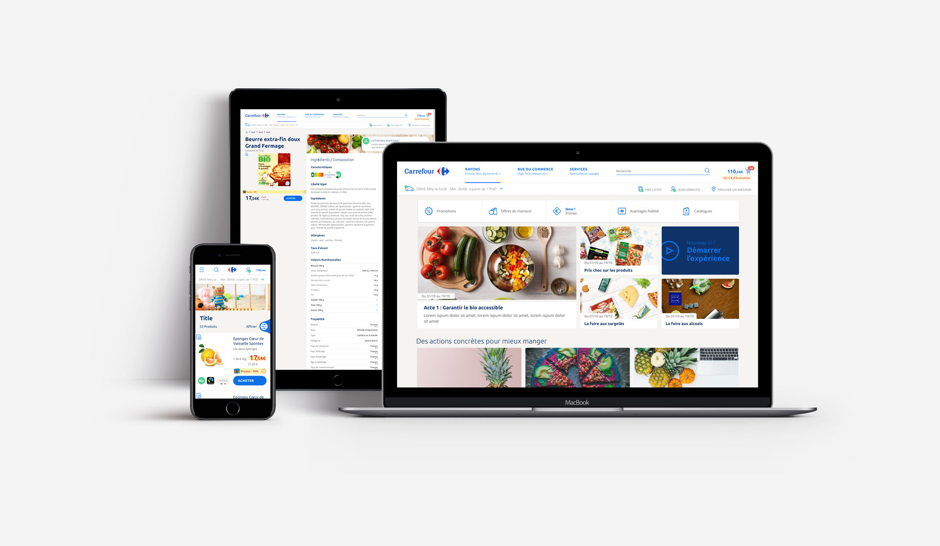 The Carrefour website on multiple devices